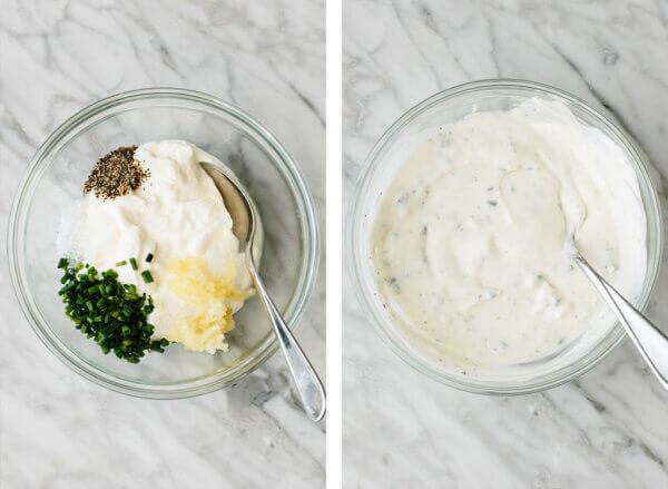 Making the garlic chive yogurt sauce in a small bowl.