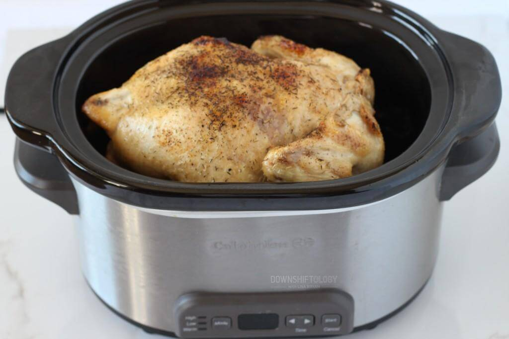 Crock Pot Rotisserie Chicken | www.downshiftology.com