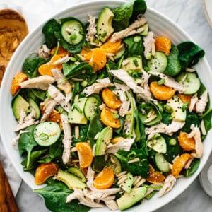 A large white bowl of mandarin chicken salad.