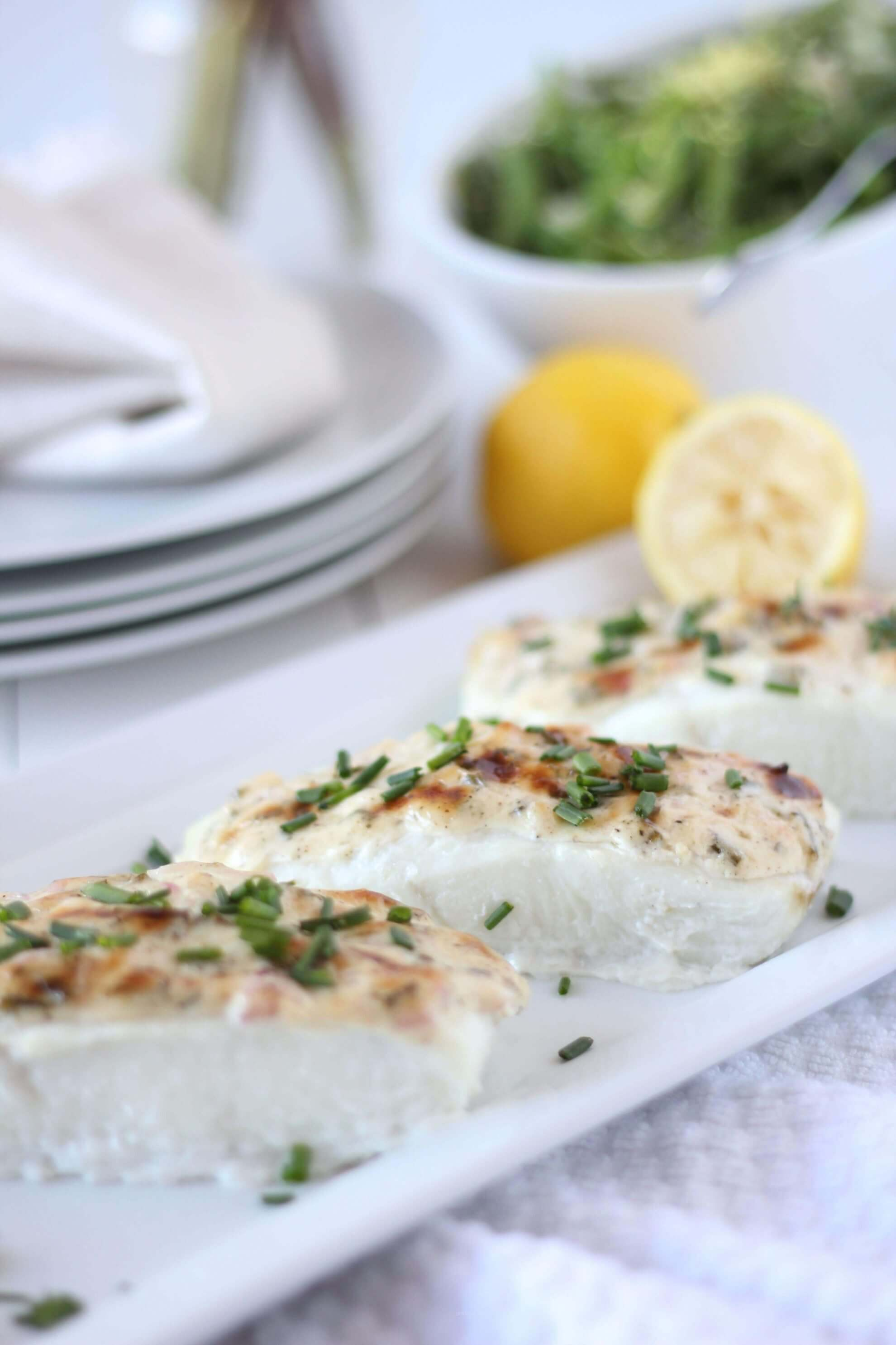 (gluten-free, paleo) Baked Halibut with Herbed Mayonnaise | www.downshiftology.com