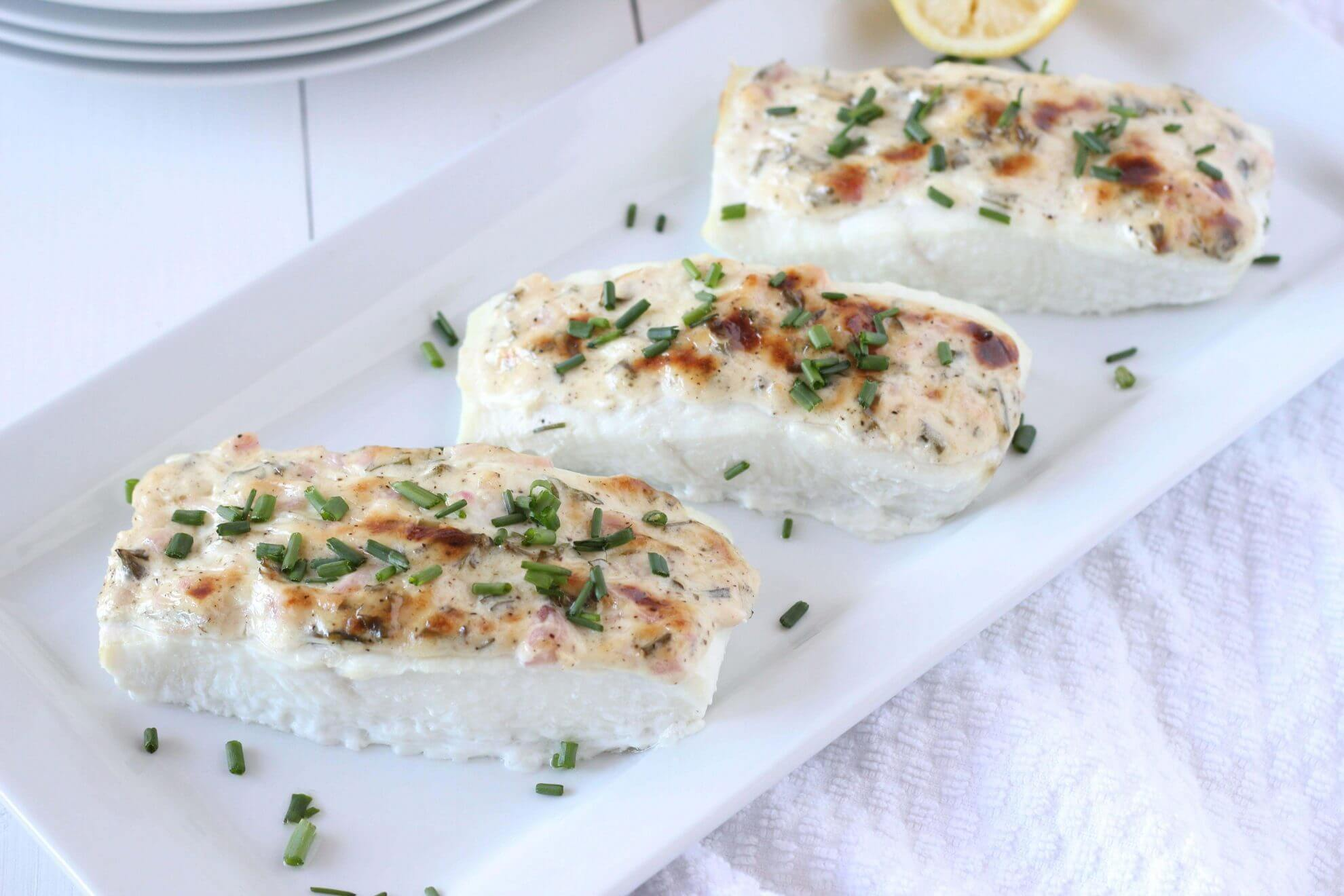 Baked halibut with herbed mayonnaise crust downshiftology for How to cook halibut fish