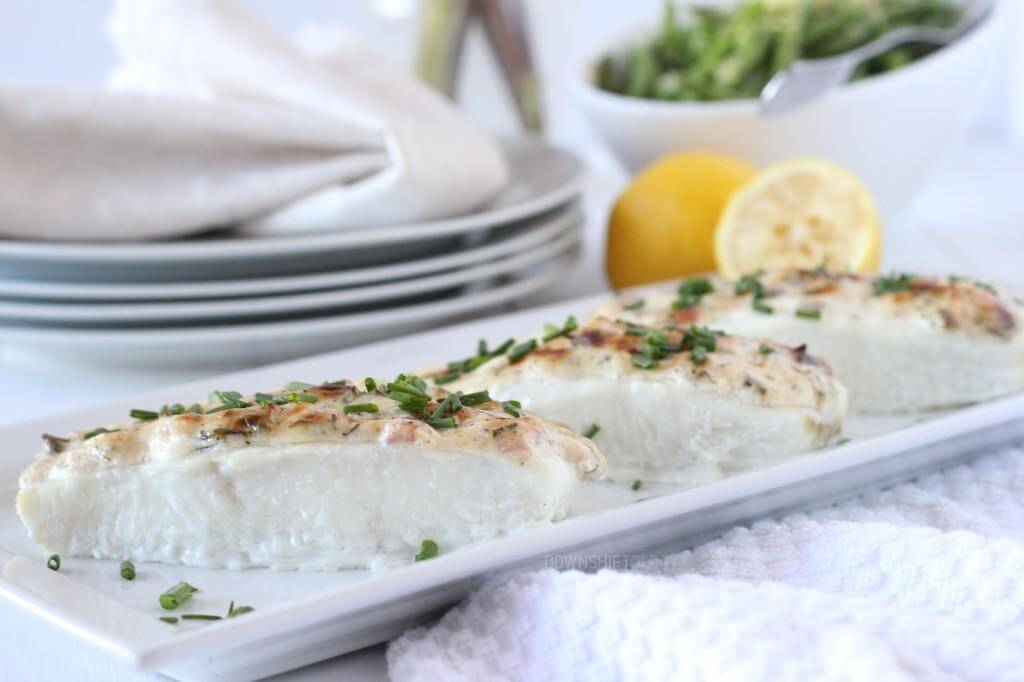 Baked Halibut with Herbed Mayonnaise | www.downshiftology.com