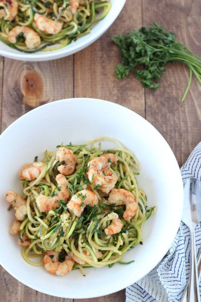 Zucchini Pasta with Lemon Garlic Shrimp | www.downshiftology.com