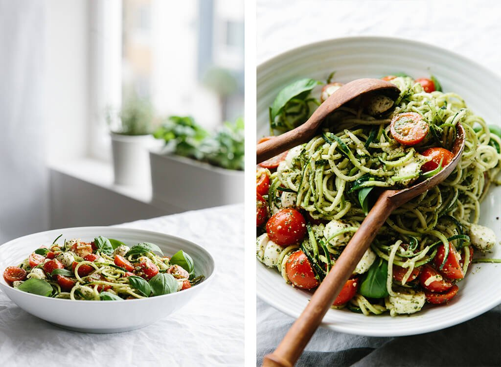 Zucchini noodle caprese is made from my favorite gluten-free pasta alternative, zucchini noodles - and inspired by one of my all time favorite salads, caprese.