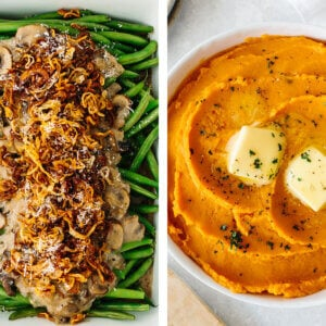Paleo Thanksgiving recipes with mashed sweet potatoes.