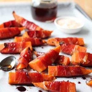 Prosciutto Wrapped Sweet Potatoes with Maple Balsamic Glaze