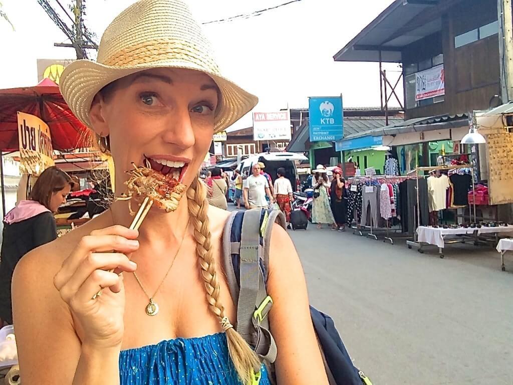 Thai street food bacon mushrooms
