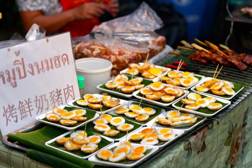 Thailand street food quail eggs