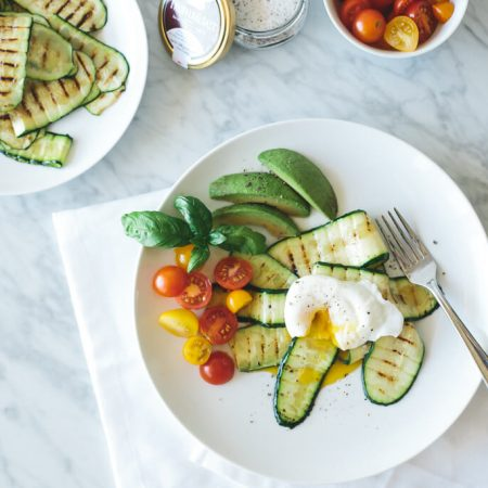 poached egg with truffle salt zucchini