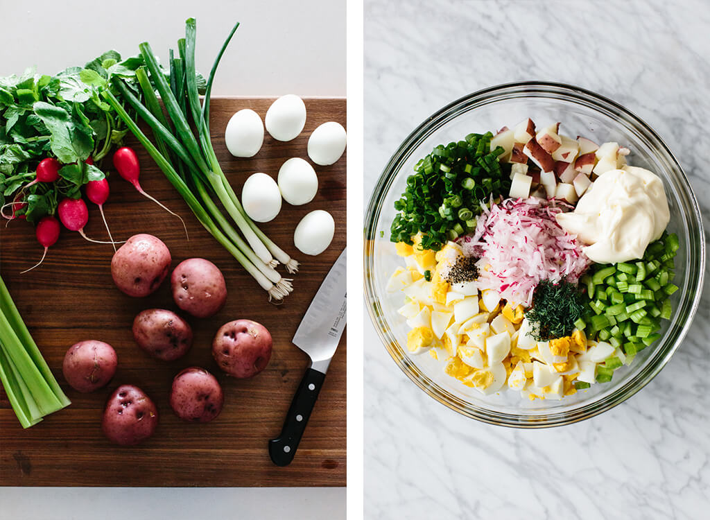 How to make potato salad with ingredients in a bowl.