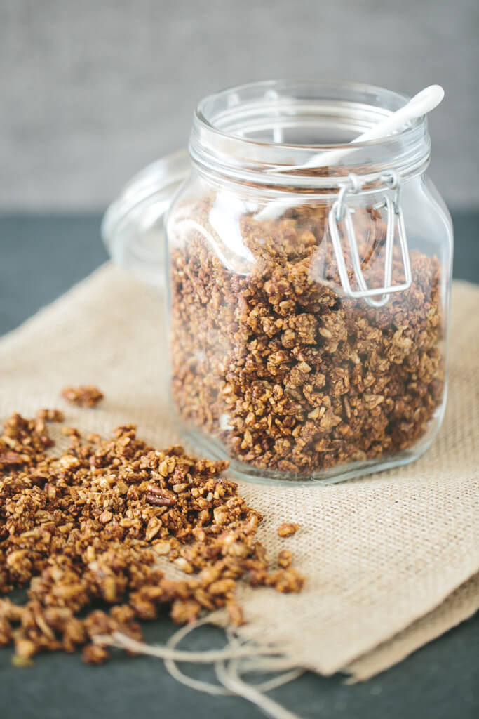 This gluten-free, grain-free granola recipe is a chai spiced granola made from almonds, pecans, a variety of seeds and warming chai spices.