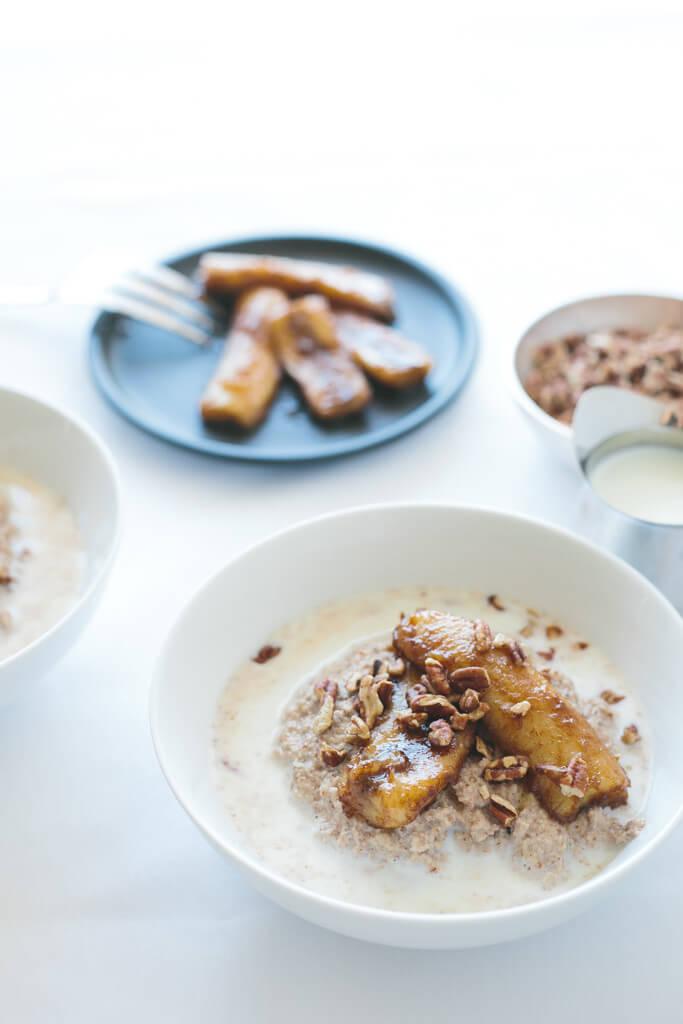 paleo porridge with caramelized bananas
