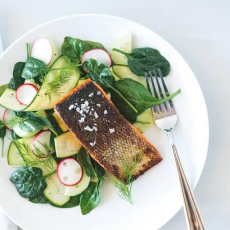 Crispy Skin Salmon with Zucchini Cucumber Salad