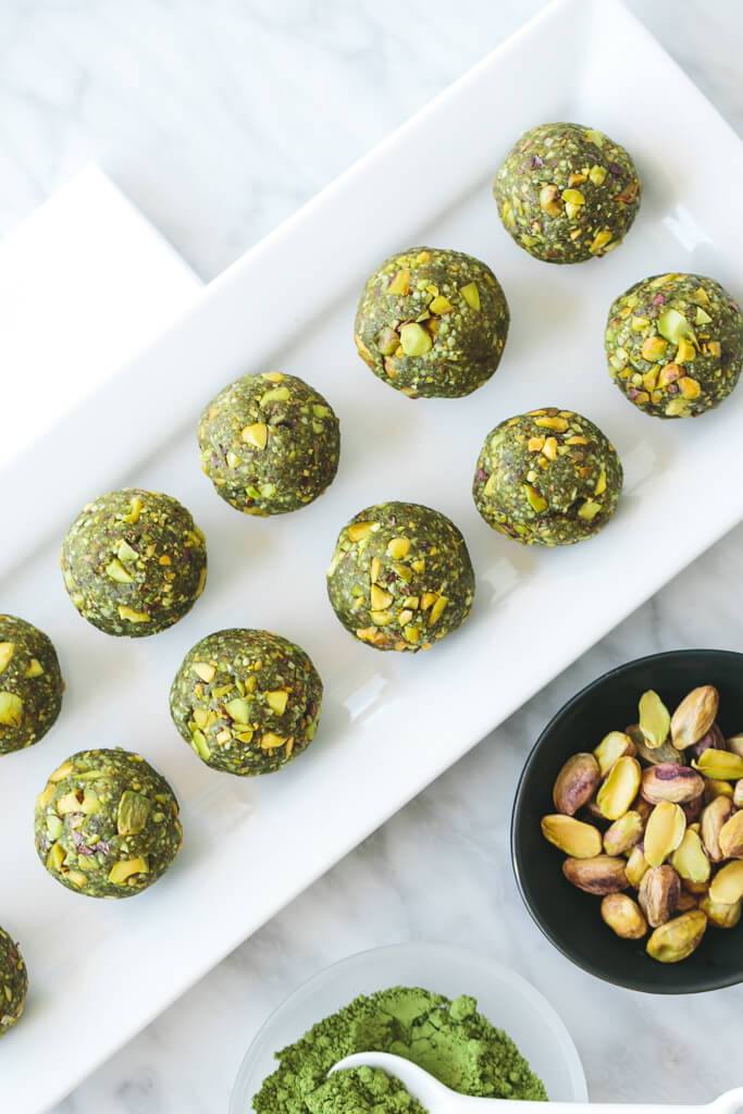 matcha pistachio bliss balls