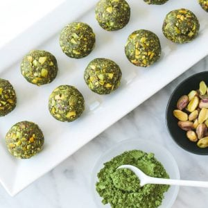 (gluten-free, paleo, vegan) These matcha pistachio bliss balls are the perfect healthy snack and loaded with nutrients.