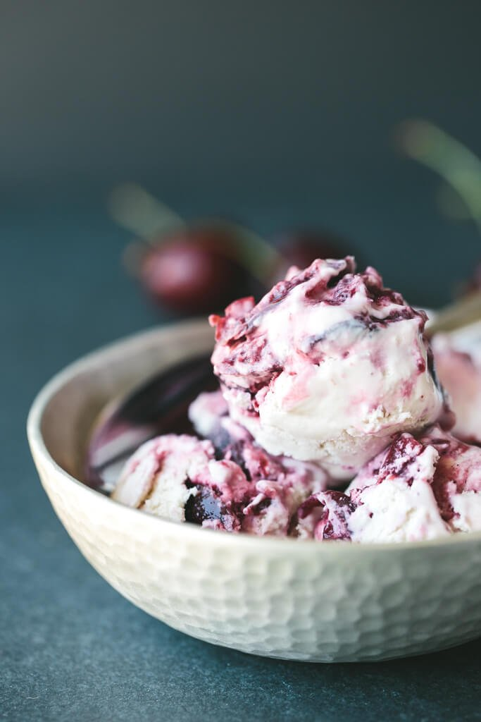 roasted cherry cardamom ice cream