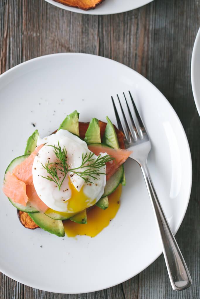 ... potato toast with avocado, cucumber, smoked salmon and poached egg-4