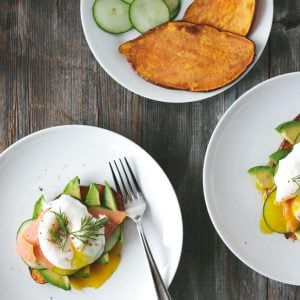 (gluten-free, paleo) Sweet Potato Toast with Avocado, Cucumber, Smoked Salmon and Poached Egg