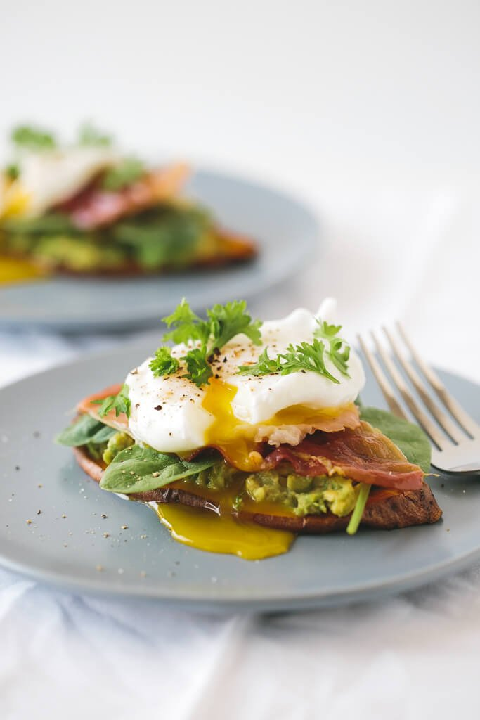 """... Potato """"Toast"""" with Avocado, Spinach, Prosciutto and Poached Egg"""