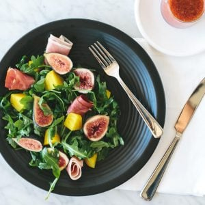 Fig, Golden Beat and Prosciutto Salad. A sweet and hearty salad that's bursting with flavor and topped with a fig vinaigrette.