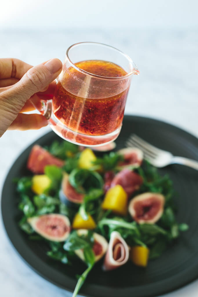 fig, golden beet and prosciutto salad