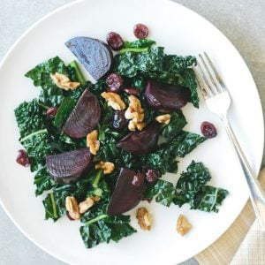 Roasted Beet and Kale Salad. A healthy, nutritious and easy-to-make kale salad.