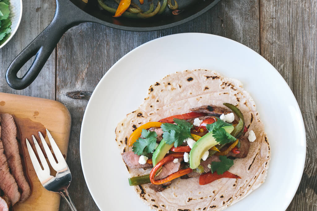 steak fajitas with cassava flour tortillas