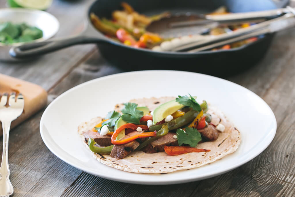 steak fajitas with cassava flour tortillas-6