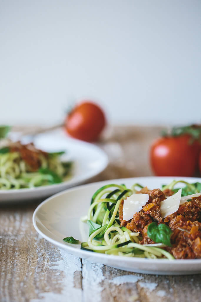 This zucchini noodle spaghetti bolognese is reminiscent of a good Italian beef ragu, but it's gluten-free and grain-free thanks to zucchini noodles.