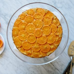 (gluten-free, paleo) Clementine Upside Down Cake. An almond cake that's topped with sweet citrus - clementine mandarins -for a beautiful, show-stopping dessert.