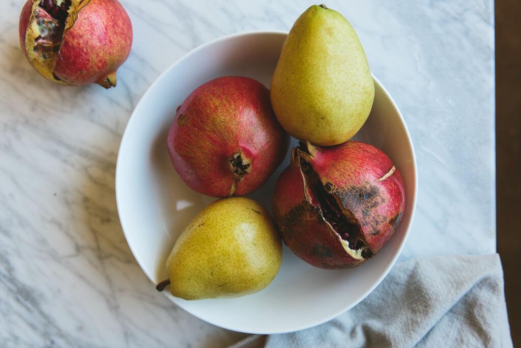 Roasted Delicata Squash, Pear and Pomegranate Salad
