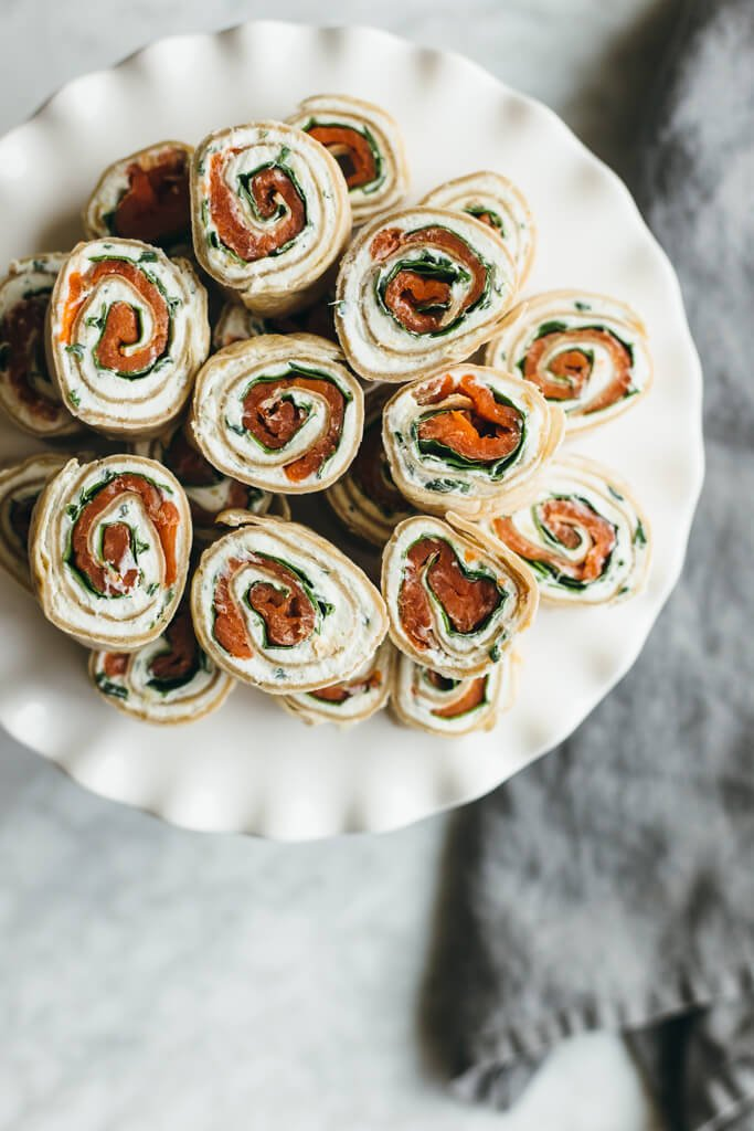 Herbed chevre, spinach and smoked salmon pinwheel. With a cassava flour tortilla. Gluten-free and paleo-friendly.
