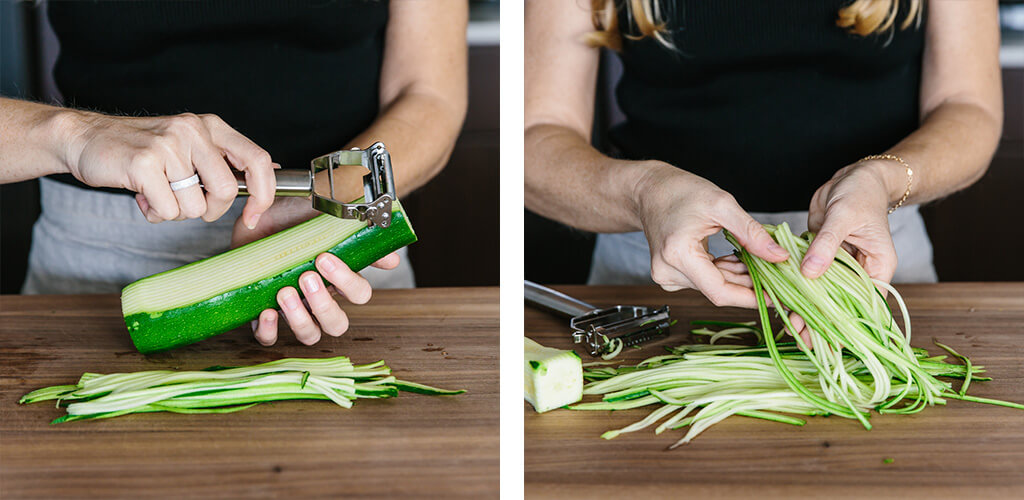 How to make zucchini noodles with a julienne peeler.