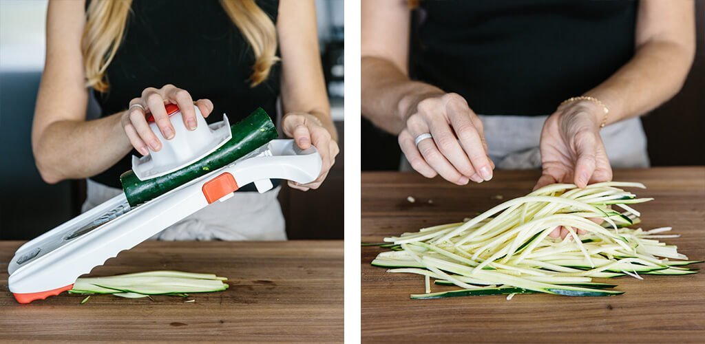 How to make zucchini noodles with a mandoline.
