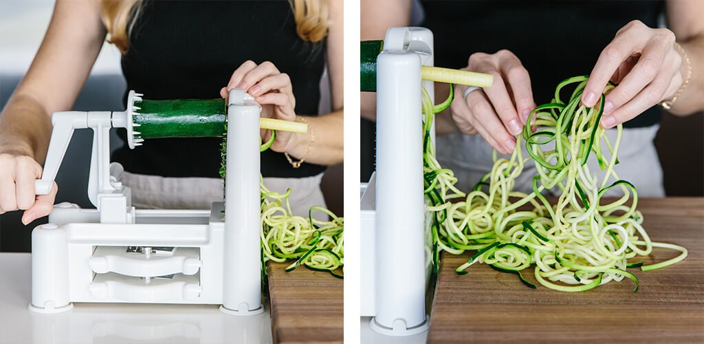 How to make zucchini noodles with a spiralizer.