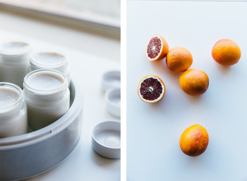 Coconut yogurt with blood oranges and cacao nibs. Dairy-free.