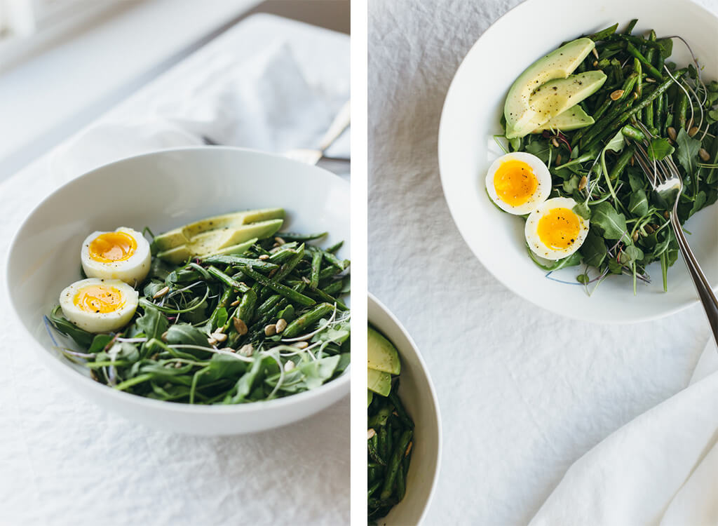 Arugula, asparagus and avocado breakfast salad. A delicious and nutrient-dense way to start your day!
