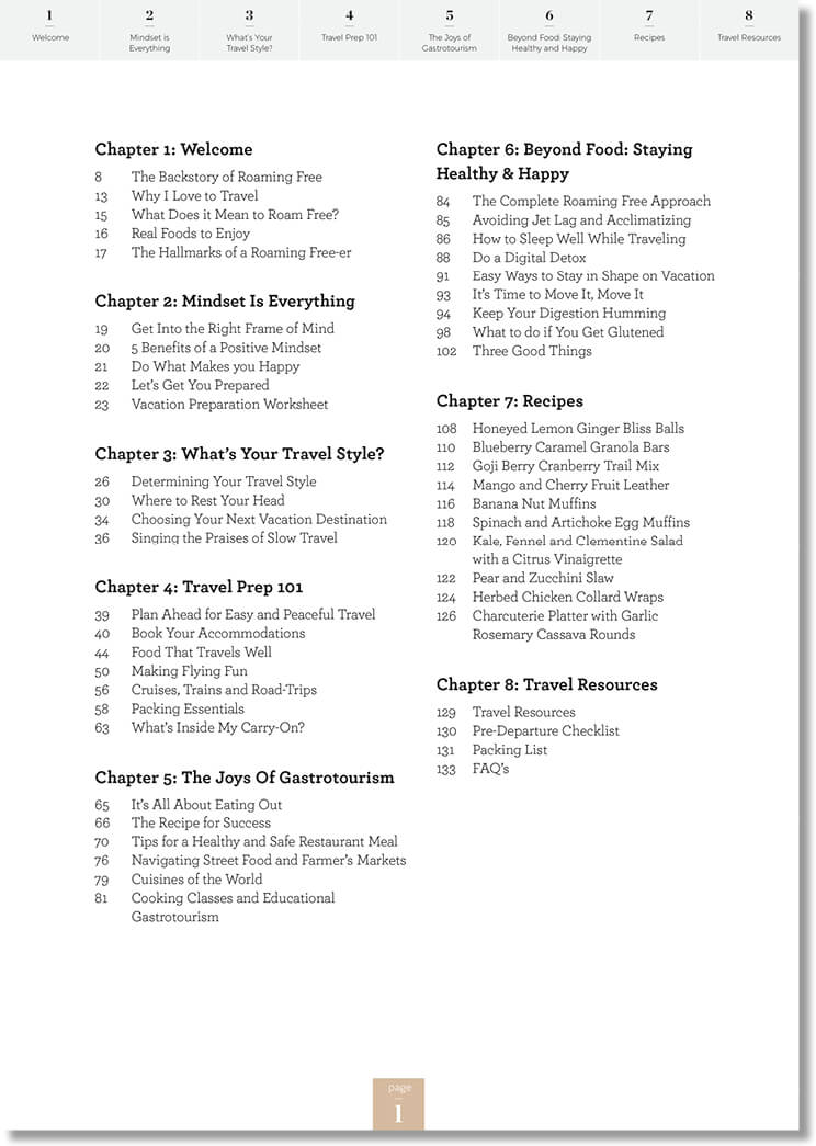Roaming Free - table of contents