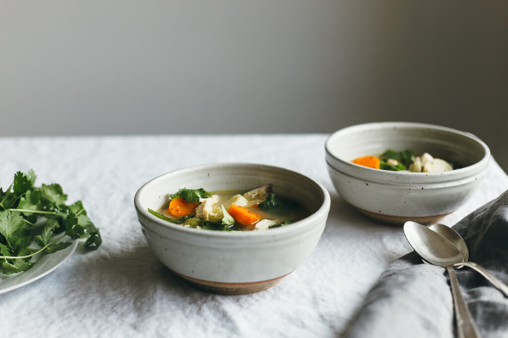 Poached chicken and winter vegetable soup. Gluten-free and paleo.