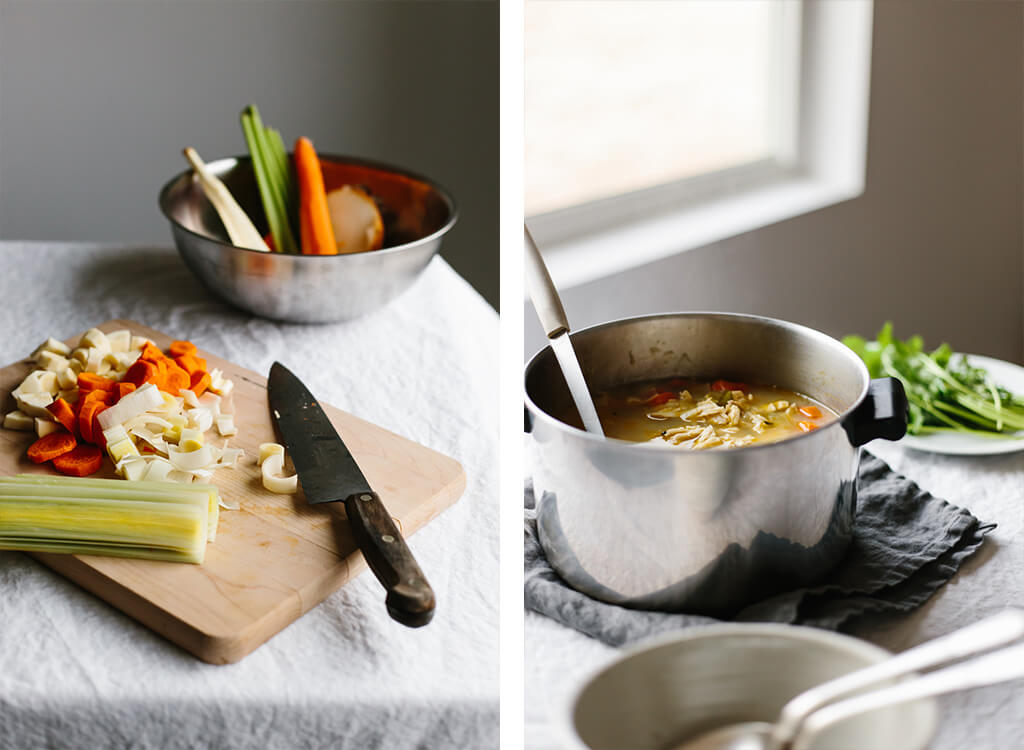 Poached chicken and vegetable come together for a nourishing, hearty, healing soup recipe. With carrots, parsnips, celery, leek, onion, garlic and fresh herbs, this is a great cold weather vegetable soup.