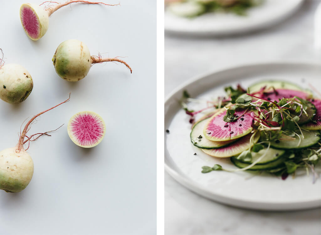 Watermelon radish and cucumber salad.