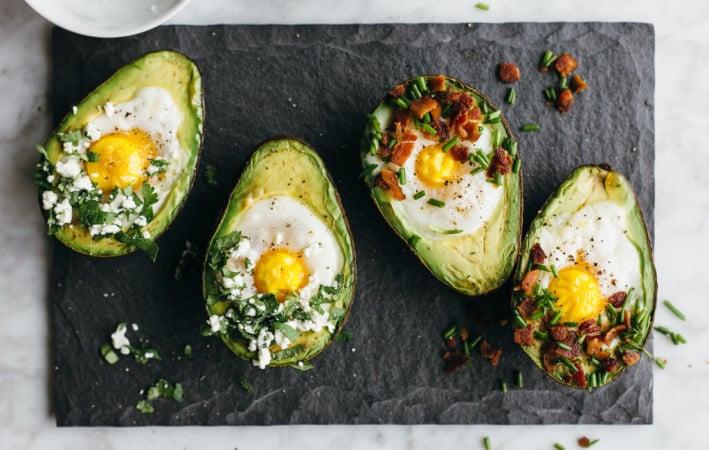 Baked eggs in avocado. A perfect gluten-free, paleo breakfast.