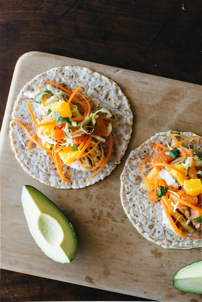 Grilled Fish Tacos with Citrus Carrot Slaw | Downshiftology