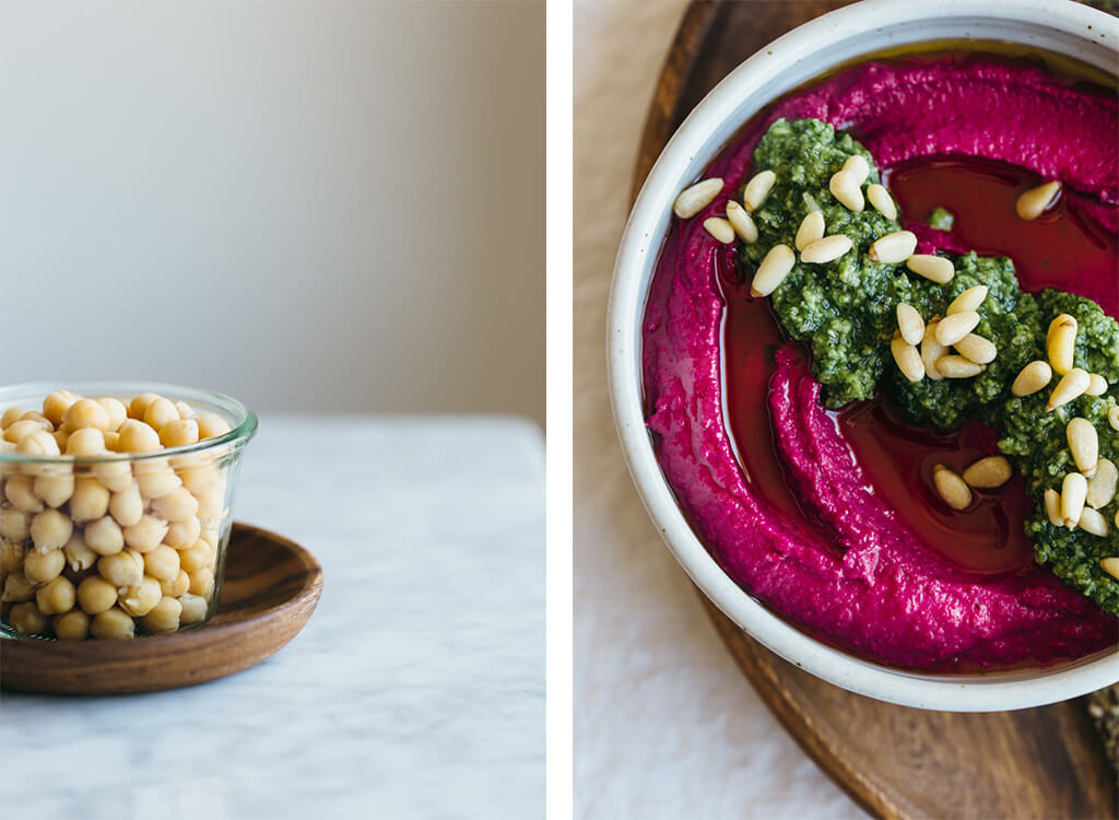 Roasted beet hummus with basil pesto (gluten-free, vegan). The perfect healthy appetizer!