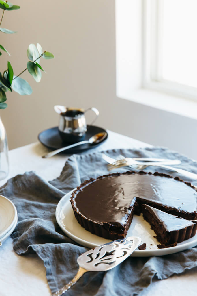 Triple Chocolate Tart. A decadent dessert that's gluten-free, dairy-free and paleo.