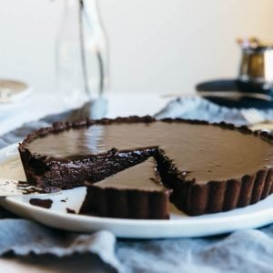 (gluten-free, dairy-free, paleo) A rich and decadent chocolate truffle tart - the perfect chocolate dessert.