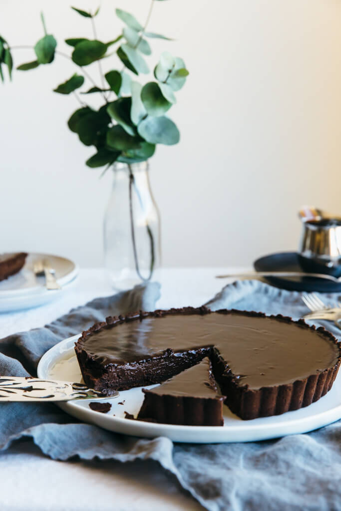 Chocolate Truffle Tart (gluten-free, paleo) | Downshiftology