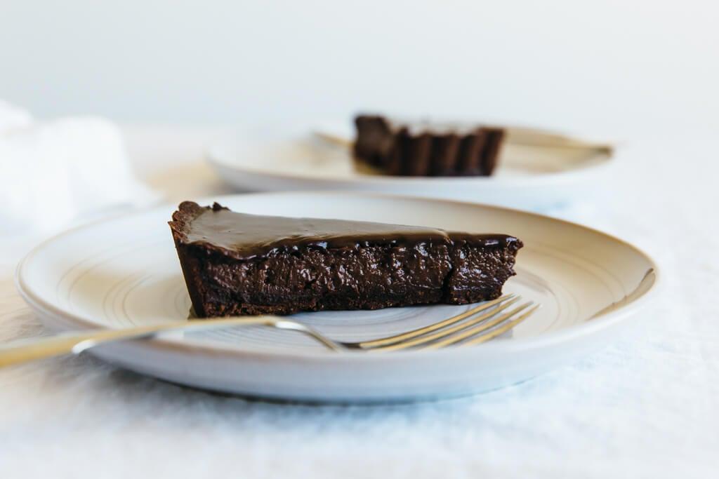 Triple Chocolate Tart. A decadent dessert that's gluten-free, dairy-free and paleo.