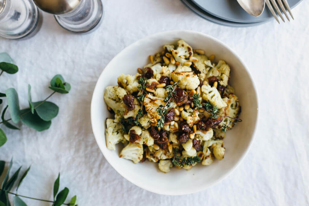 Za'atar roasted cauliflower with dates, pine nuts and thyme. |www ...