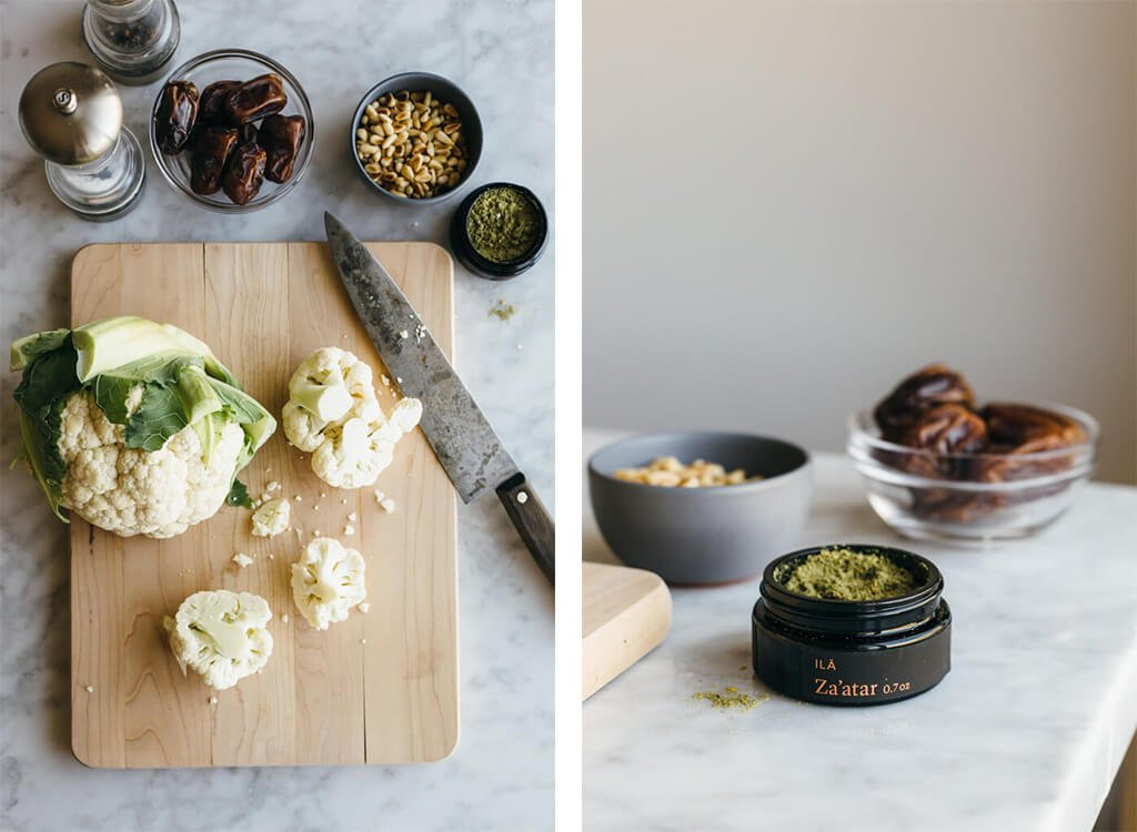Za'atar roasted cauliflower with dates, pine nuts and thyme. |www.downshiftology.com